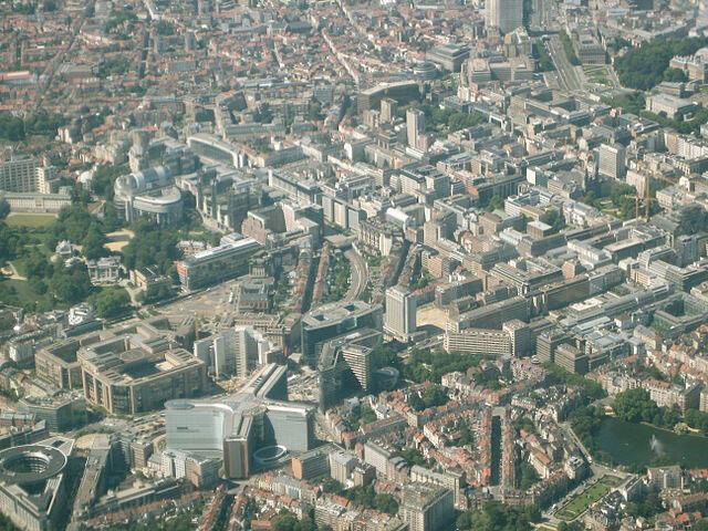 Vue aérienne du quartier européen de Bruxelles.