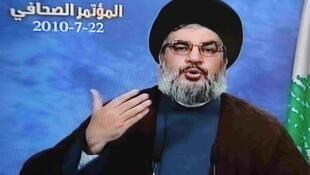 Hasán Nasralá, durante la entrevista difundida por Al-Manar.