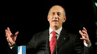 Ehud Olmert pendant une conférence de presse, le 11 mai 2008, à Jérusalem.