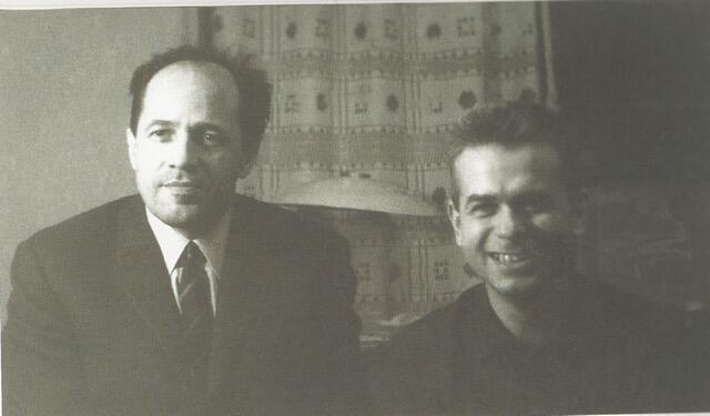 Эдисон Денисов и Пьер Булез в москвоской квартире Денисовых, 1960-е годы