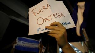 «Ortega dehors» demandent les Nicaragayens le 20 avril 2018. Le chef de l'Etat renonce finalement à sa réforme controversée. Pas sûr que cela suffise à calmer la révolte populaire.