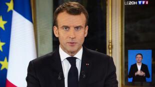 Shugaban Faransa Emmanuel Macron yayin gabatar da jawabin sauye-sauye ga tsarin kwadagon kasar.
