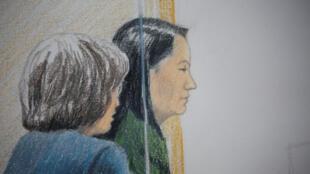 孟晚舟在加拿大出庭一次示意圖 資料照片