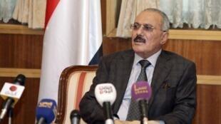 Rais wa Yemen Ali Abdullah Saleh akihutubia Taifa kabla ya kuanza safari yake ya kuelekea nchini Marekani kwa matibabu