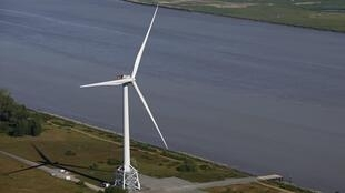 Wind turbine at Alstom's offshore on the Loire Estuary western France, 15 may 2014.