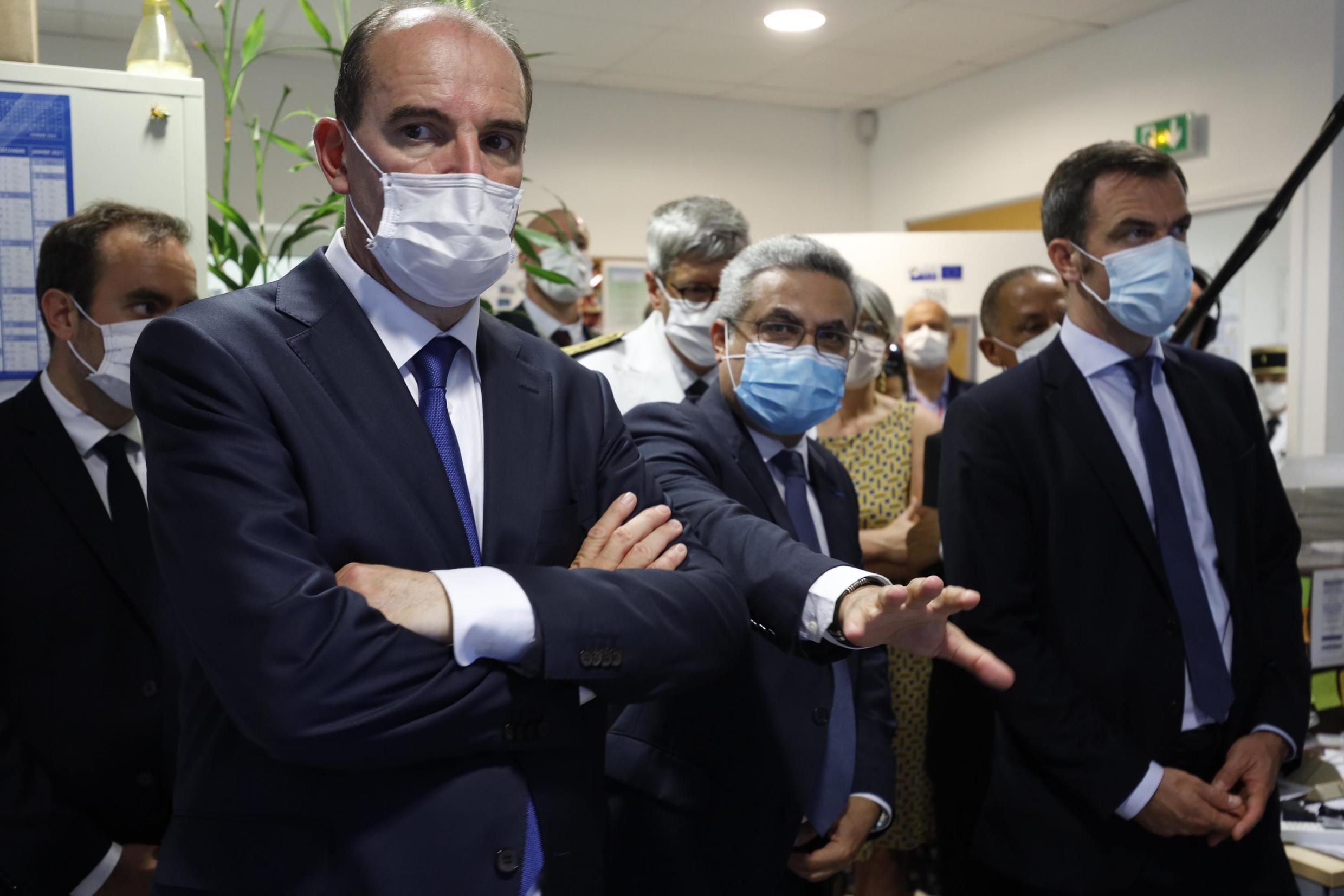 Prime Minister Jean Castex and Health Minister Olivier Véran visit Pasteur Institute Lab in Cayenne, Guiana. 12 July 2020.