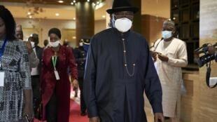 L'ancien président du Nigeria, Gooduck Jonathan, lors d'une visite à Bamako, Mali, le 23 juillet 2020 (photo d'illustration).