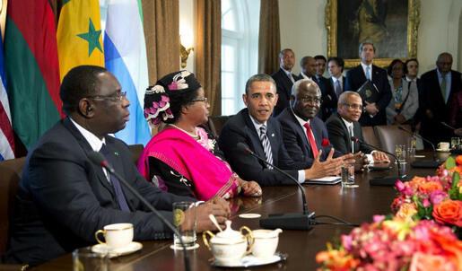 wasu daga  cikin Shugabannin kasashen Afruka  tareda  Shugaba  Obama  na Amaruka