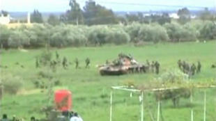 Syrian tanks have reportedly entered Daraa. Picture taken from video footage.
