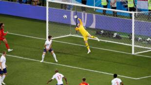 Belgium's Adnan Januzaj scores their first goal against England on 28 june 2018 in Kaliningrad stadium, Russia.