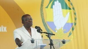 Faustin Boukoubi à Libreville, le 15 septembre 2012, lorsqu'il était secrétaire général du PDG gabonais, le parti au pouvoir.
