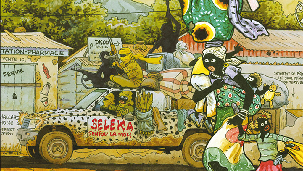 Une partie de la couverture du premier tome de la bande dessinée de Didier Kassaï intitulée «Tempête sur Bangui».