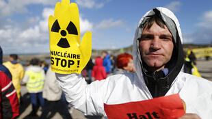 An anti-nuclear protester at Flamanville on Saturday