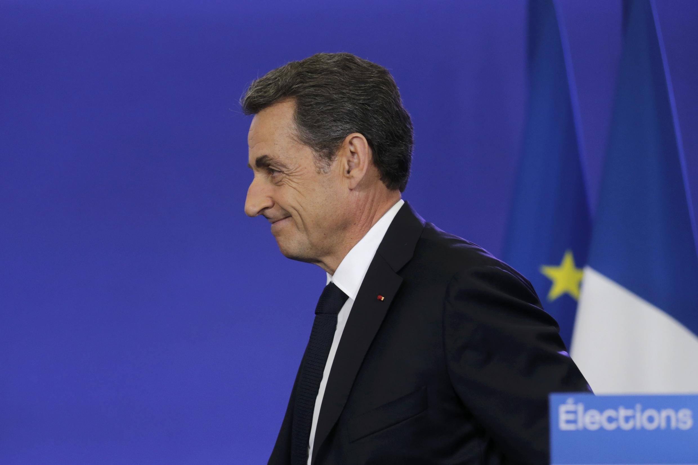 Бывший президент Франции Николя Саркози на пресс-конференции после закрытия избирательных участков на выборах в советы департаментов, 29 марта 2015 г.