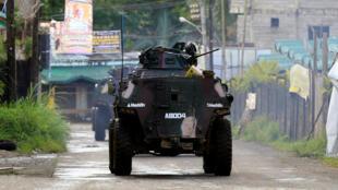 Un véhicule de l'armée philippine dans Marawi, le 1er juin 2017.