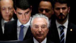 Michel Temer, durante a cerimônia de posse como presidente do Brasil no Senado.