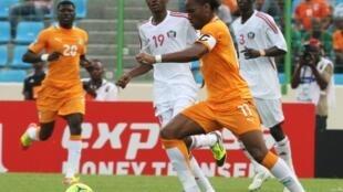 Didier Drogba a marqué le seul but de la rencontre entre la Côte d'Ivoire et le Soudan, le 22 janvier 2012.