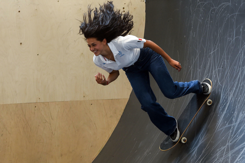 Madeleine Larcheron au skatepark de Biarritz, le 30 juin 2021