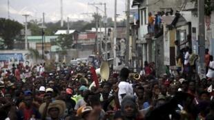 Manifestation contre le gouvernement du président Michel Martelly, le 24 janvier, à Port-au-Prince.