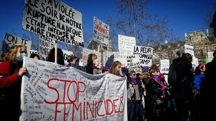 Women gather in Paris to defend their rights_ahead of International Women's Day, 7 March 2021