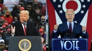 Montage photo avec Donald Trump et Joe Biden.