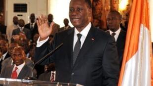 La prestation de serment du président Alassane Ouattara, vendredi 6 mai 2011.