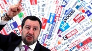 Ông Salvini họp báo tại Roma ngày 13/02/2020 sau khi Thượng Viện Ý cho phép đưa ông ra tòa.