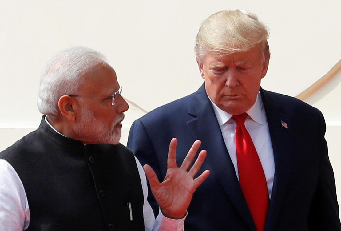 美国总统特朗普2月25日结束对印度的访问。Donald Trump et Narendra Modi à New Delhi, le 25 février 2020.
