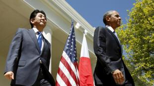 Le président des Etats-Unis, Barack Obama, lors de sa viiste historique à Hiroshima. En présence du 1er ministre japonais, Shinzo Abe.
