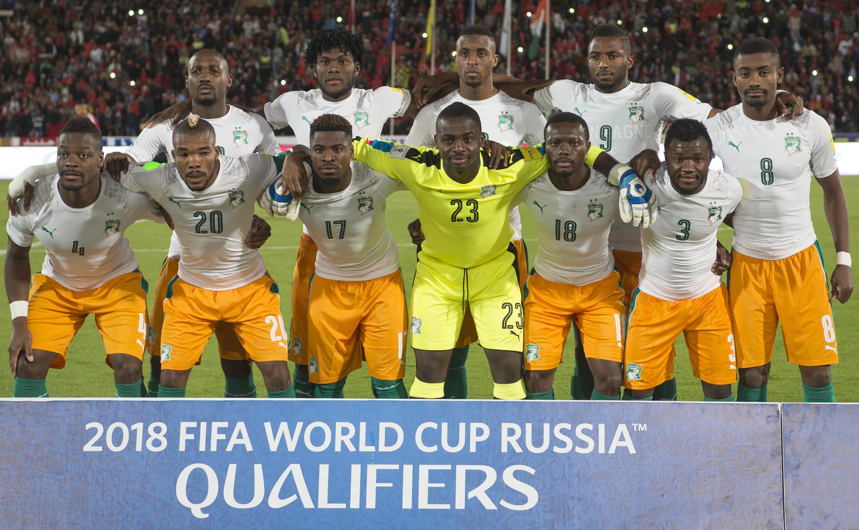 La sélection de la Côte d'Ivoire lors du match face au Maroc (0-0), comptant pour les éliminatoires de la Coupe du monde 2018, le 12 novembre 2016.