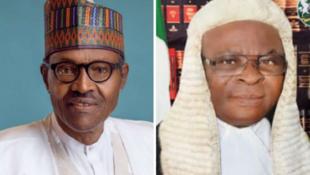 President Muhammadu Buhari (l) and Chief Justice of Nigeria Walter Onnoghen (r)
