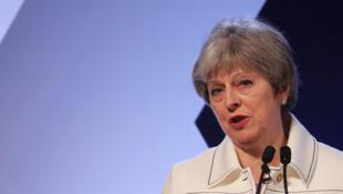 Le Première ministre britannique, Theresa May au Forum des affaires du Commonwealth, le 14 avril 2018.