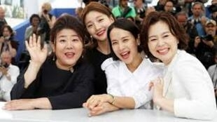 Actresses Cho Yeo-Jeong, Hyae Jin chang, So Dam Park and Jeong Eun Lee, stars of Bong Joon Ho's Parasite, one of the 21 films in Golden Palm competition at Cannes, May 2019
