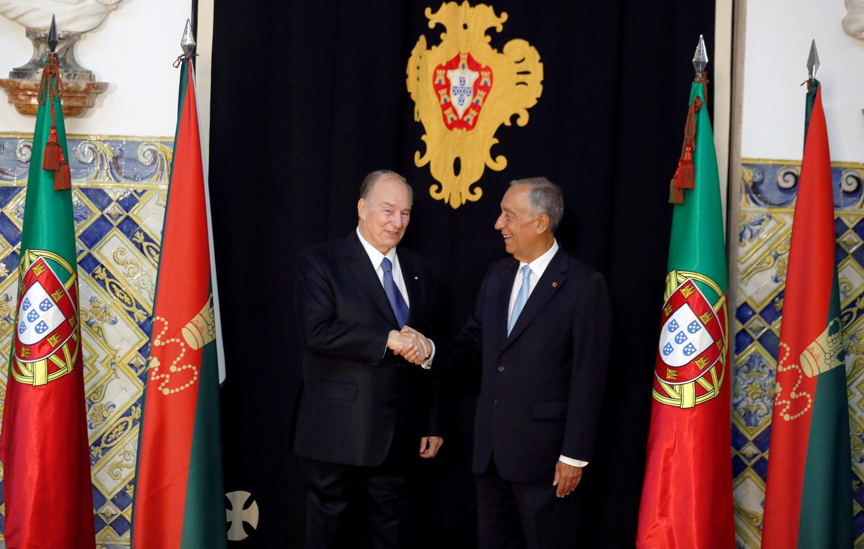 O príncipe Aga Khan foi recebido pelo presidente de Portugal, Marcelo Rebelo de Sousa, no palácio presidencial de Belém, em Lisboa. 09/07/18.