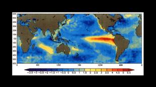 Image des anomalies de températures à la surface des océans lors d'El Niño, en 1997.