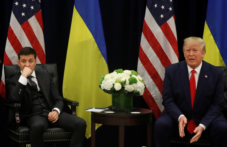 Les présidents d'Ukraine et des États-Unis, Volodymyr Zelenskiy et Donald Trump, le 25 septembre en conférence d epresse conjointe à New York.