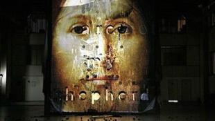 Cartaz do polêmico espetáculo 'Sur le concept du visage du fils de Dieu', em cartaz em Paris.