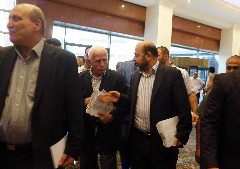 Đoàn Palestine đến Cairo đàm phán với phía Israel. Ảnh ngày 13/08/2014.