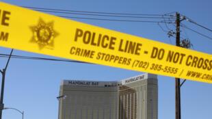 Eneo la tukio katika mji wa Las Vegas limefungwa na polisi baada ya mauaji ambayo hayawahi kutokea Marekani, Oktoba 2, 2017.