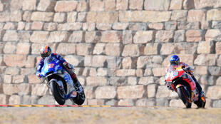 Brick wall: Alex Marquez chased Alex Rins but could not pass