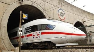 German high speed train at the Channel tunnel in Coquelles
