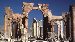 L'arc de triomphe à Palmyre, Syrie (photo prise en 1981).