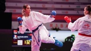 L'Algérienne Lamya Matoub lors de l'Open 2018 de karaté de Rabat.