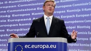 European Enlargement Commissioner Stefan Fule addresses a news conference at the EU Commission headquarters in Brussels