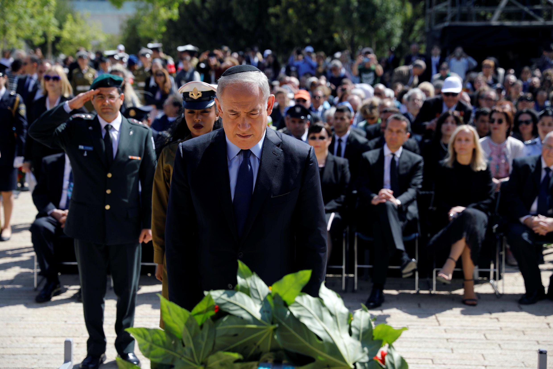 """بنیامین نتانیاهو نخست وزیر اسرائیل، در بنای یادبود """"یاد واشم"""" در بیت المقدس"""