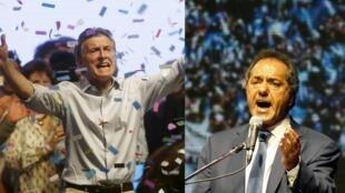 Mauricio Macri (esq), que lidera oposição à frente do partido Cambiemos, e Daniel Scioli (dir), do partido governista, na reta final da eleição presidencial na Argentina, em 25 de outubro de 2015.