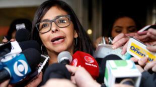 Delcy Rodriguez, ministre vénézuélienne des Affaires étrangères, le 11 juillet 2016 lors d'une réunion du Mercosur à Montevideo.