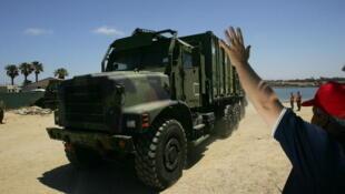 Un véhicule militaire.