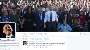Capture d'écran du compte officiel du compte Twitter officiel du président américain Barack Obama. https://twitter.com/potus?lang=fr