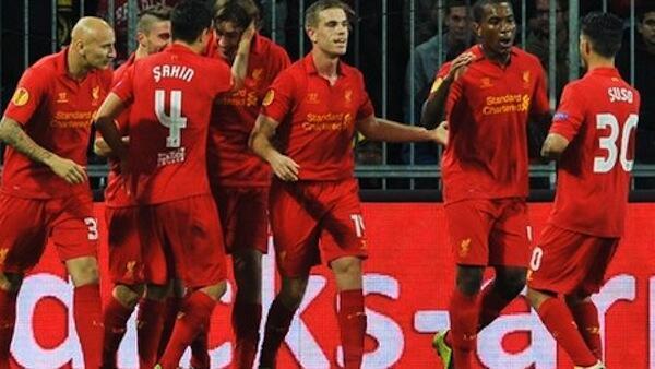 Wachezaji wa Liverpool wakishangilia moja ya goli walilofunga kwenye mchezo dhidi ya Young Boys